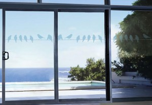 Patio doors with birds on a line
