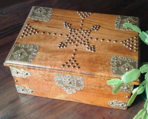 A teak box my Dad made many years ago - sanded to original colour, polyurethaned and decorated with shim brass and solid brass tacks.